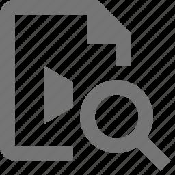 file, magnify, search, video, view icon