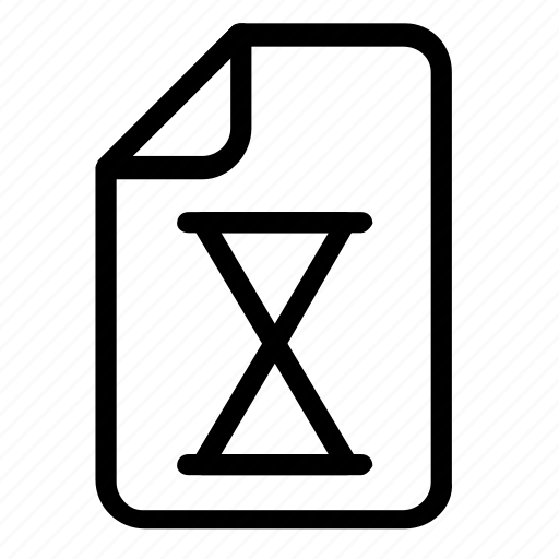 file, format, hourglass icon