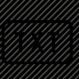 extension, text, txt icon