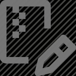edit, file, pencil, zipped icon