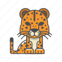 animals, branch, cat, cheetah, conservation, cute, design, environment, filled, filled outline, flat, forest, front view, fur, hair, hairy, illustration, jungle, mammal, mustache, nature, outdoor, outline, species, tree, tropical, vector, wild, wildlife, wood, zoo icon