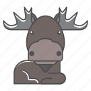 animals, branch, conservation, cute, deer, design, environment, filled, filled outline, flat, forest, front view, fur, hair, hairy, illustration, jungle, mammal, moose, mustache, nature, outdoor, outline, species, tree, tropical, vector, wild, wildlife, wood, zoo icon