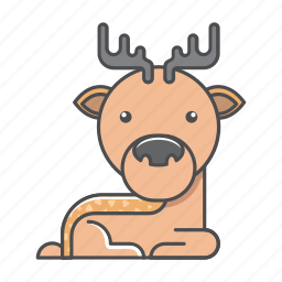 animals, branch, conservation, cute, deer, design, environment, filled, filled outline, flat, forest, front view, fur, hair, hairy, illustration, jungle, mammal, mustache, nature, outdoor, outline, species, tree, tropical, vector, wild, wildlife, wood, zoo icon