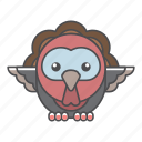 animal, avian, beauty, birds, blue, color, colorful, conservation, cute, design, environment, feather, filled, filled outline, flat, forest, front view, green, illustration, jungle, nature, outdoor, outline, park, species, tail, tropical, turkey, vector, wild, wildlife, zoo icon