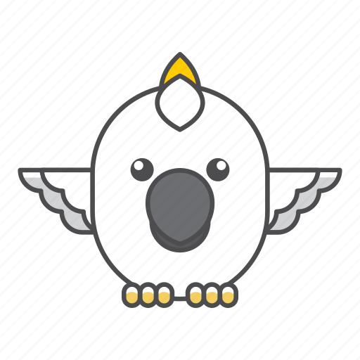 animal, avian, beauty, birds, blue, cockatoo, color, colorful, conservation, cute, design, environment, feather, filled, filled outline, flat, forest, front view, green, illustration, jungle, nature, outdoor, outline, park, species, tail, tropical, vector, wild, wildlife, zoo icon