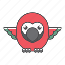 animal, avian, beauty, birds, blue, color, colorful, conservation, cute, design, environment, feather, filled, filled outline, flat, forest, front view, green, illustration, jungle, nature, outdoor, outline, park, parrot, species, tail, tropical, vector, wild, wildlife, zoo icon