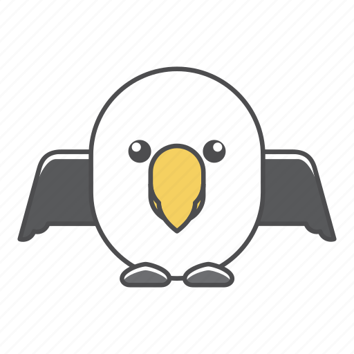 albatross, animal, avian, beauty, birds, blue, color, colorful, conservation, cute, design, environment, feather, filled, filled outline, flat, forest, front view, green, illustration, jungle, nature, outdoor, outline, park, species, tail, tropical, vector, wild, wildlife, zoo icon