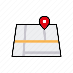business, map, marker, navigation, office, travel icon