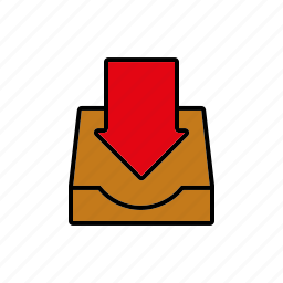 arrow, business, inbox, incoming, office icon