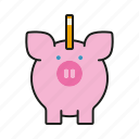 cash, coin bank, finance, money, piggy bank, savings icon