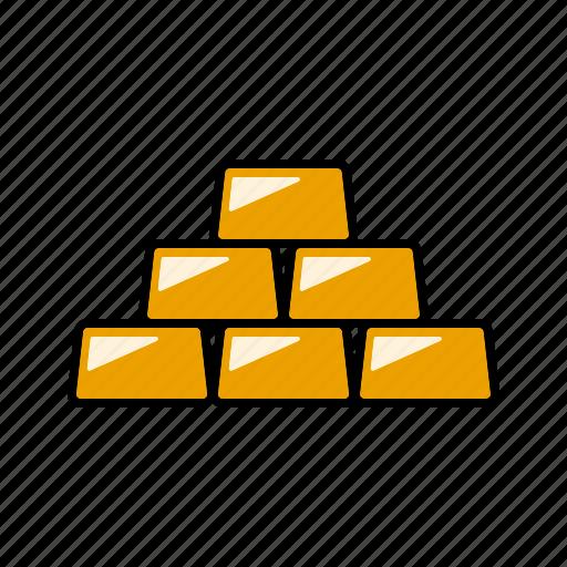 bullion, finance, gold, money, precious metals, stack, wealth icon