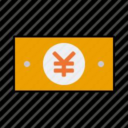 bill, cash, currency, finance, money, note, yen icon