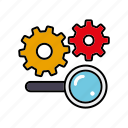 cogs, internet, magnifying glass, search, seo, service, settings icon