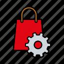 internet, marketing, seo, service, settings, shop, shopping bag icon