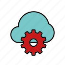 cloud, cog, internet, marketing, seo, service, settings icon