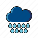 climate, cloud, meteorology, rain, raindrops, weather icon