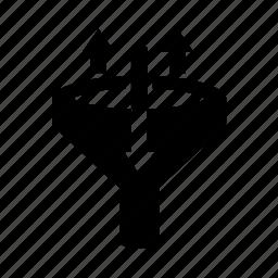 arrow, data filter, filter, funnel icon