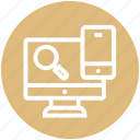 finance, find, lcd, magnifier, mobile, search icon