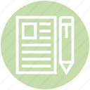 document, editor, finance, note, paper, pencil icon