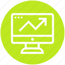 business, display, finance, graph, lcd, screen, up arrow icon