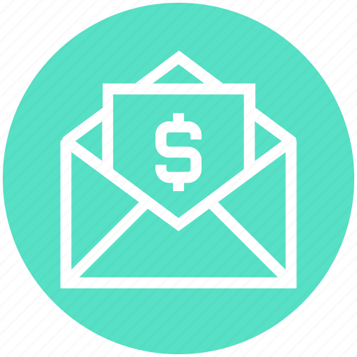 document, dollar, dollar note, envelope, finance, money, open envelope icon