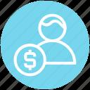 banking, businessman, coin, dollar, finance, money, user