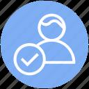 accept, businessman, finance, person, tick mark, user icon