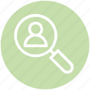 finance, find, magnifier, person, search, user, view icon