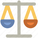 balance, equality in business, justice, law, legal, scales icon