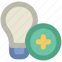 bulb, bulb with add, electricity, energy, idea, light, light bulb, plus icon