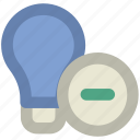 bulb, bulb with minus, electricity, energy, idea, lamp, light, light bulb, luminaire, remove icon