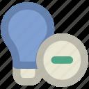bulb, bulb with minus, electricity, energy, idea, lamp, light, light bulb, luminaire, remove