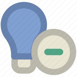 bulb, bulb with minus, electricity, energy, idea, lamp, light, light bulb, luminaire, remove icon