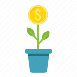 business, coin, finance, growth, investment, money, plant icon