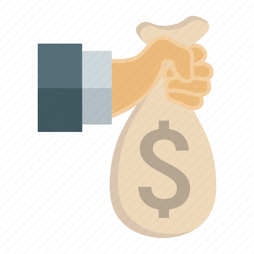bag, business, finance, hand, hold, investment, money icon