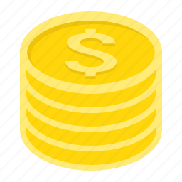 business, coins, currency, dollar, finance, gold, money icon