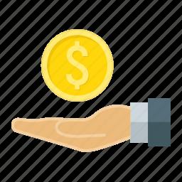 cash, coin, dollar, finance, hand, money, save icon