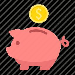 bank, business, economy, finance, investment, money, piggy icon