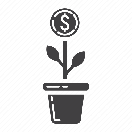 Plant, finance, business, money, growth, coin, investment icon