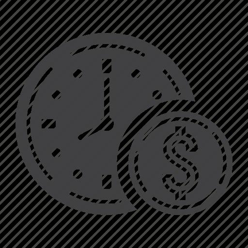 business, clock, deadline, dollar, finance, money, time icon