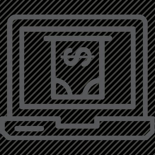 dollar, laptop, laptop pc, online banking, online business icon