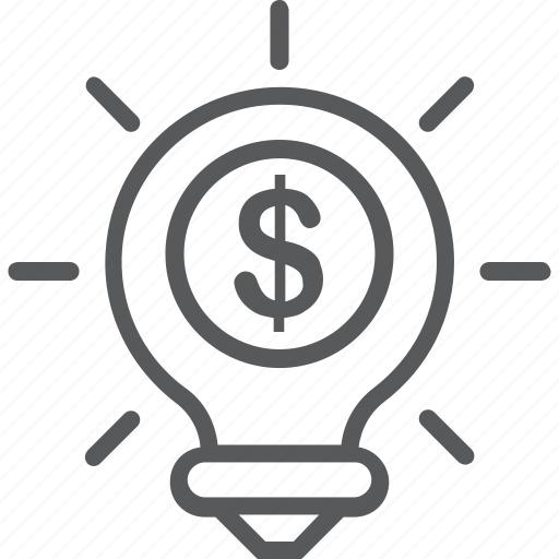 bulb, creative, dollar, idea, investment icon