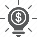 bulb, creative, dollar, idea, investment icon