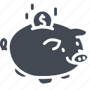bank, business, piggy, solid icon
