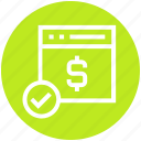 accept, business, dollar, finance, webpage, website icon