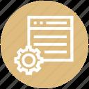 business, dollar, gear, setting, setup, webpage, website icon
