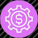 business, cogwheel, dollar, finance, gear, setting, setup