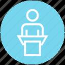 announcement, businessman, finance, lecture, person, speech icon