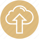 cloud, cloud computing, finance, up arrow, upload, uploading icon
