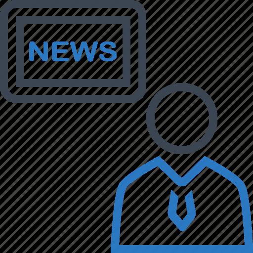 anchor, financial, headline, news, tv icon